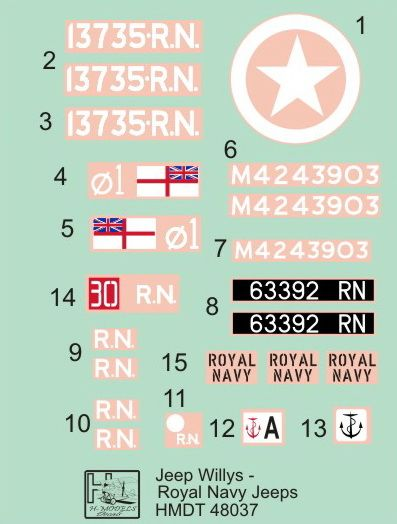 H-Model Decals 1/48 Willys Jeep MB/Ford GPW: Royal Navy Jeeps # 48037