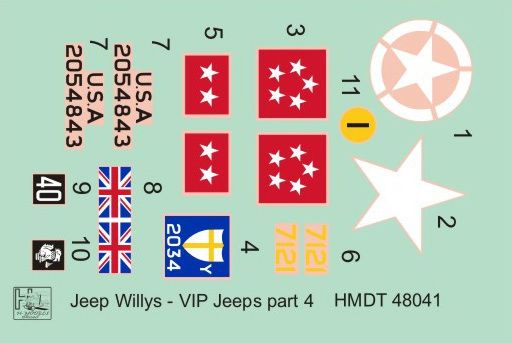 H-Model Decals 1/48 Willys Jeep MB/Ford GPW: VIP Jeeps Part 4 # 48041