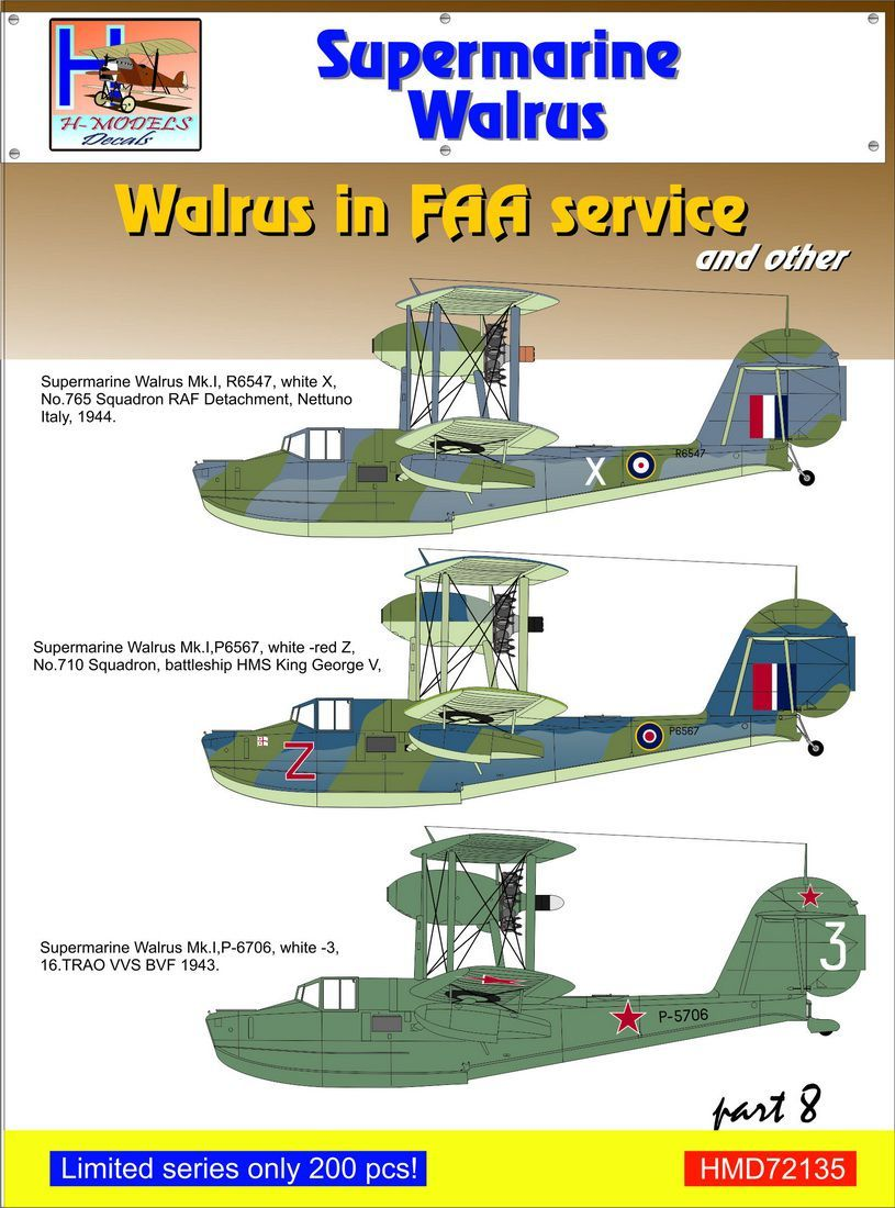 H-Model Decals 1/72 Supermarine Walrus Mk.I in FAA Service and other Part 8 # 72135