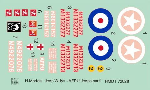 H-Model Decals 1/72 Willys Jeep MB/Ford GPW: AFPU Jeeps # 72028