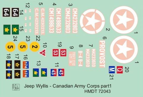H-Model Decals 1/72 Willys Jeep MB/Ford GPW: Canadian Army Corps # 72043