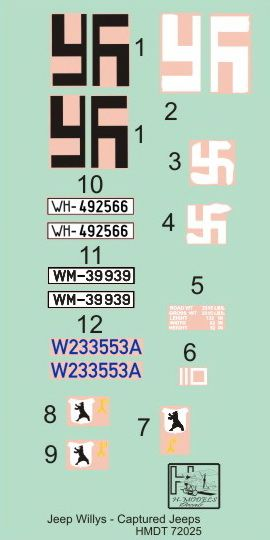 H-Model Decals 1/72 Willys Jeep MB/Ford GPW: Captured Jeeps # 72025