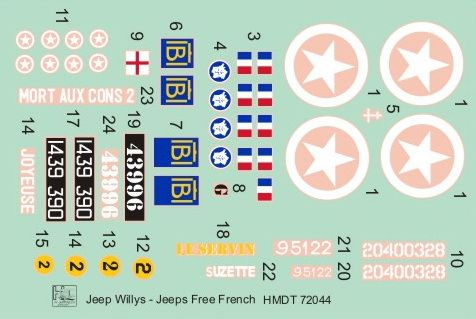 H-Model Decals 1/72 Willys Jeep MB/Ford GPW: Free French Jeeps # 72044