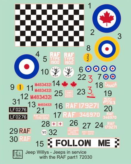 H-Model Decals 1/72 Willys Jeep MB/Ford GPW: RAF Jeeps Part 1 # 72030