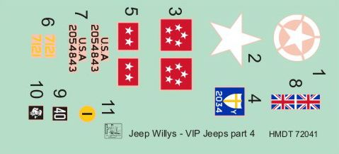 H-Model Decals 1/72 Willys Jeep MB/Ford GPW: VIP Jeeps Part 4 # 72041