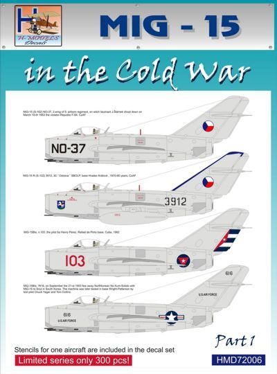 H-Models Decals 1/72 MiG-15 in the Cold War Part 1 # 72006