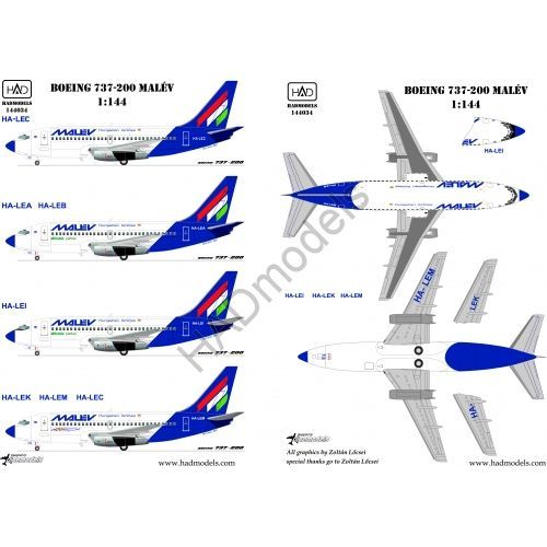 HAD Models 1/144 Boeing 737-200 MALEV # 144034