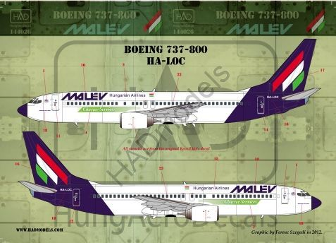 HAD Models 1/144 Boeing 737-800 MALEV # 144026