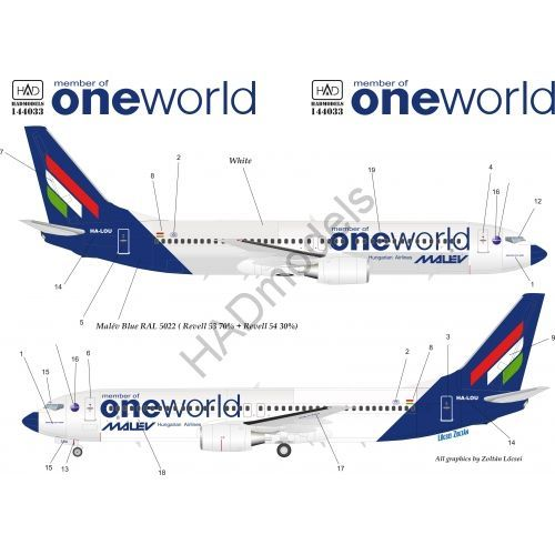 HAD Models 1/144 Boeing 737-800 'member of One World Hungarian Malev Airlines' # 144033