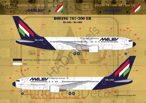 HAD Models 1/144 Boeing 767-200/767-300 MALEV # 144025