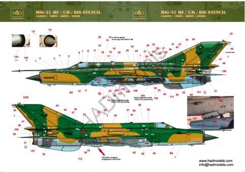 HAD Models 1/144 Mikoyan MiG-21 Stencil Data # 144023