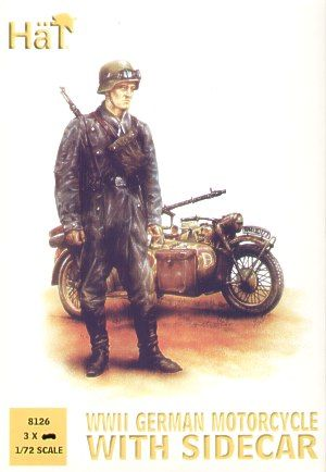 Hat 1/72 German Motorcycles with side cars (WWII) # 8126