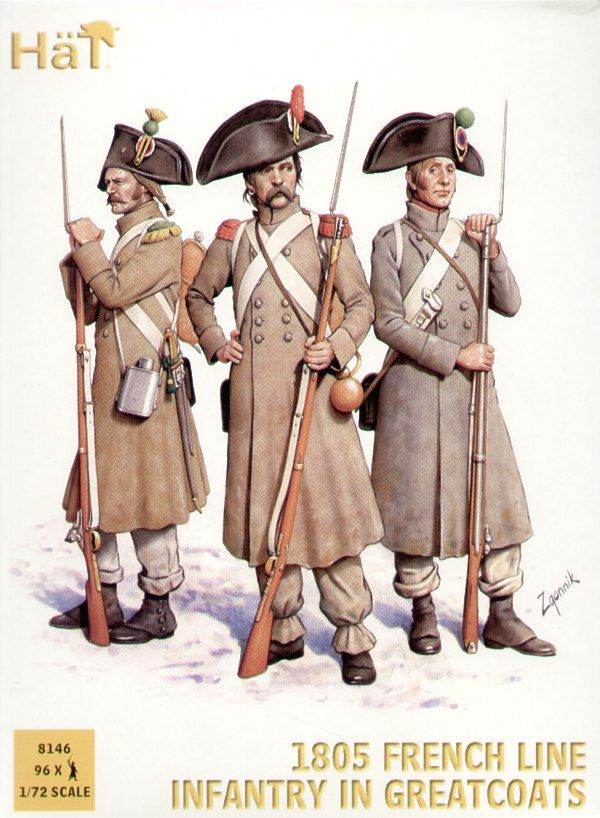 Hat 1/72 Napoleonic 1805 French Line Infantry in Greatcoats # 8146
