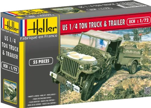 Helller 1/72 Willys MB Jeep & Trailer # 79997