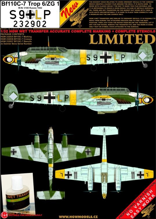 HGW 1/32 Messerschmitt Bf-110C-7 - S9 + LP Complete Wet Transfer Set # 232902