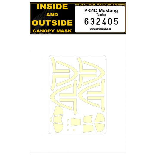 HGW 1/32 North-American P-51D Mustang Canopy Paint Mask (Inside & Outside) # 632405