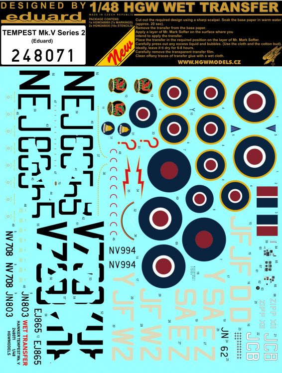 HGW Decals 1/48 Hawker Tempest Mk.V Series 2 Markings # 248071