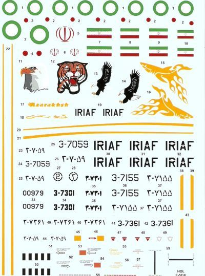 HI Decal 1/48 Northrop F-5E Tiger II Islamic Iranian Air Force # 48016