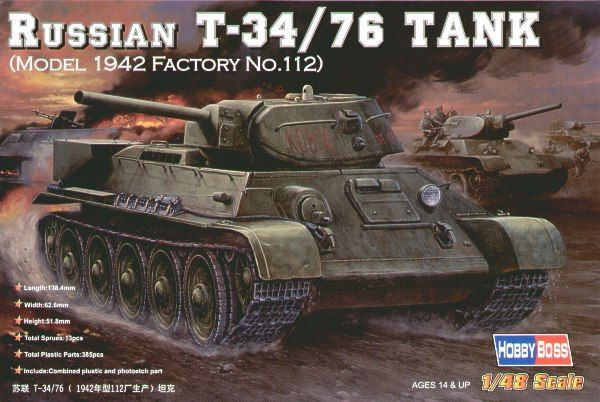 Hobby Boss 1/48 Russian T-34/76 Model 1942 Factory No.112 # 8480