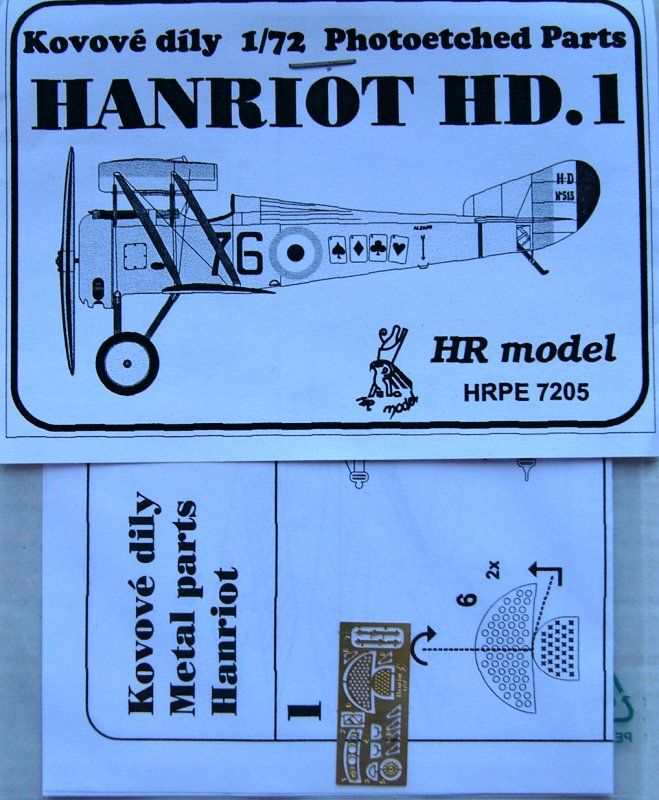 HR Model 1/72 Photo-Etched for Hanriot HD.1 # PE7205