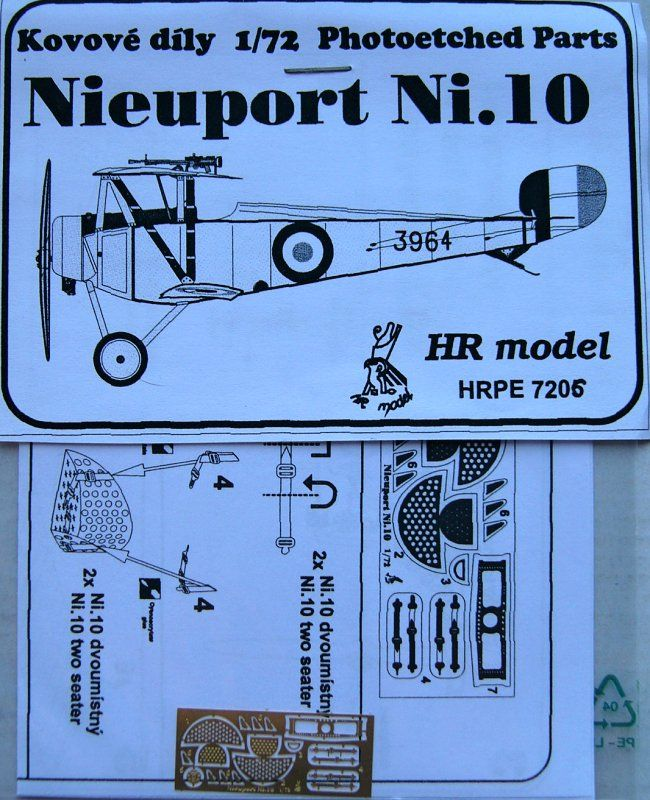 HR Model 1/72 Photo-Etched for Nieuport N.10 # PE7206