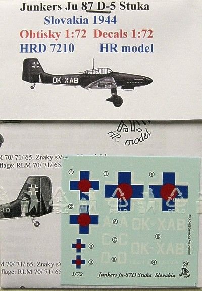 HR Model Decals 1/72 Junkers Ju-87D-5 'Stuka' # HRD7210