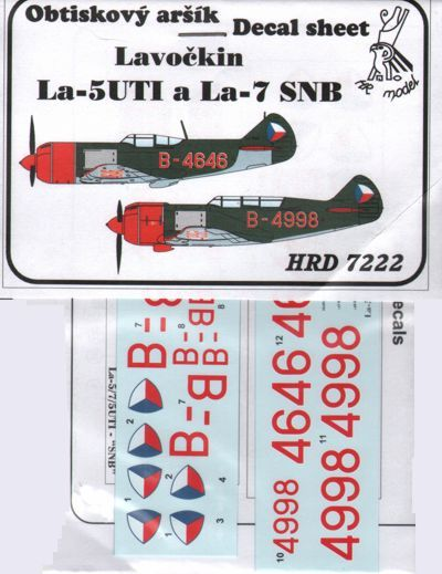 HR Model Decals 1/72 Lavochkin La-5UTI & La-7 SNB # HRD7222