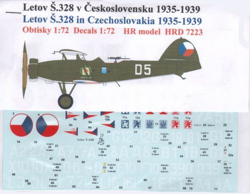 HR Model Decals 1/72 Letov S.328 (Czechoslovakia) # HRD7223