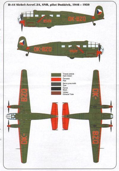 HR Model Decals 1/72 Siebel C-3A D.44 SNB (1946-1950) # HRD7227