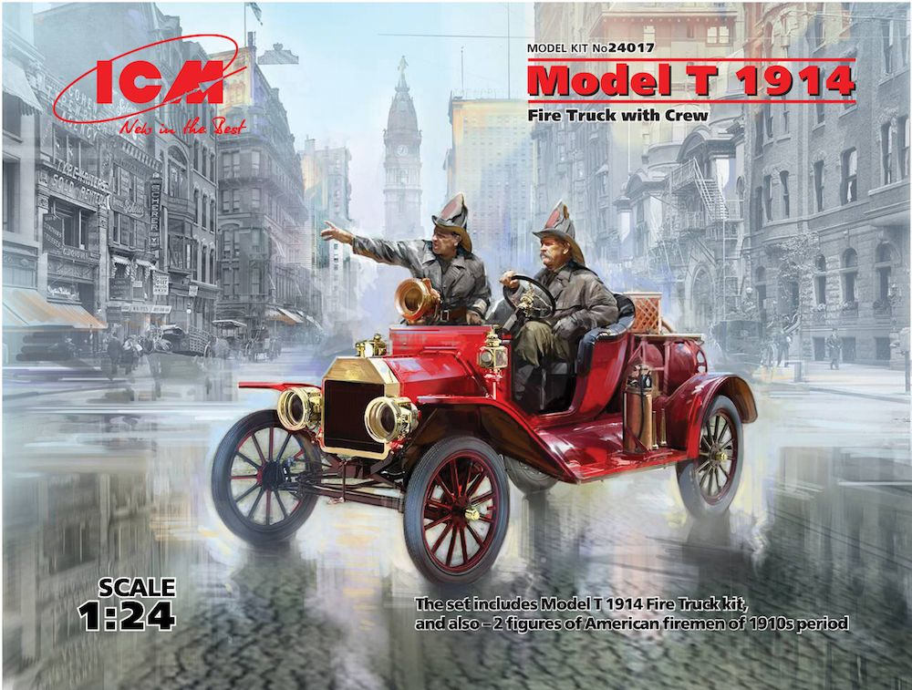 ICM 1/24 Model T 1914 Fire Truck with Crew # 24017