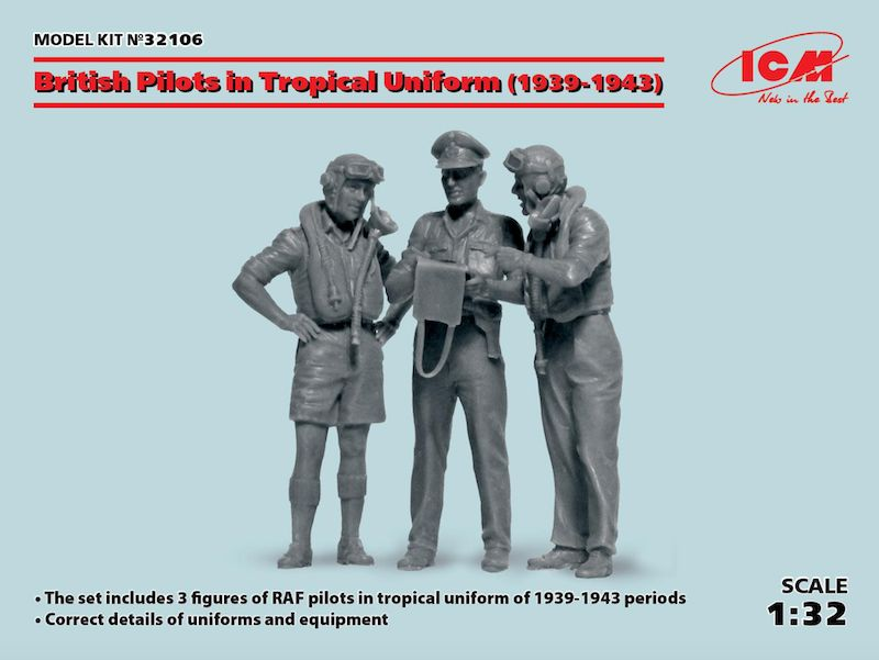 ICM 1/32 British Pilots in Tropical Uniform (1939-1943) # 32106