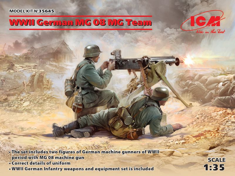 ICM 1/35 WWII German MG08 MG Team # 35645