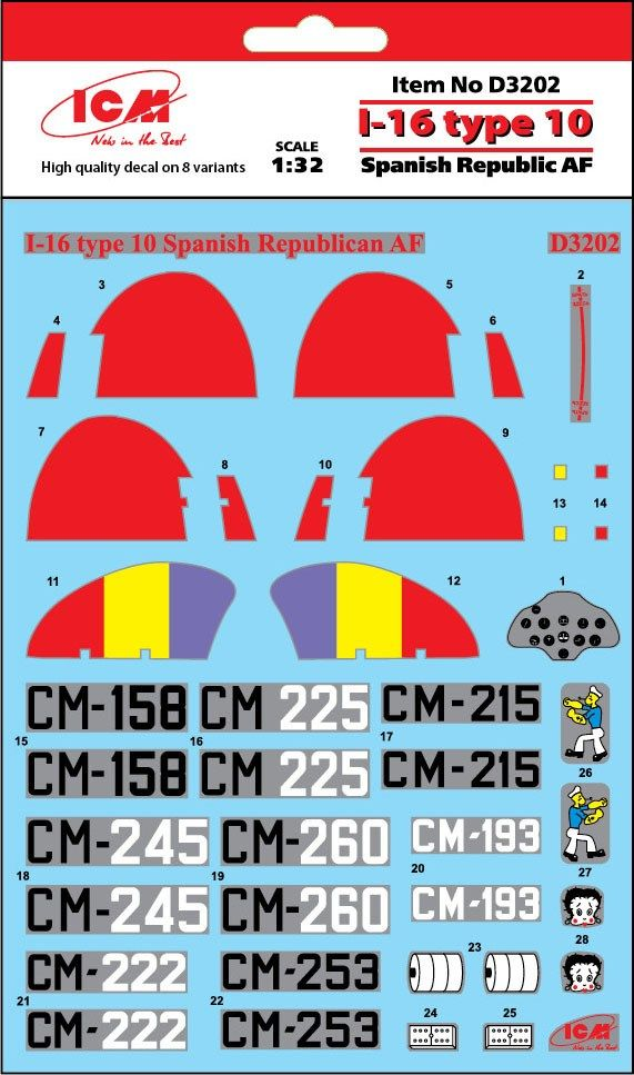 ICM Decals 1/32 Polikarpov I-16 type 10 Spanish Republic AF # D3202