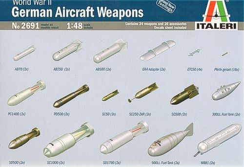 Italeri 1/48 WWII German Aircraft Weapons # 2691