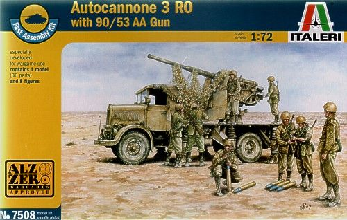 Italeri 1/72 Autocannone 3RO with 90/53 AA Gun (Fast Assembly Kit) # 7508