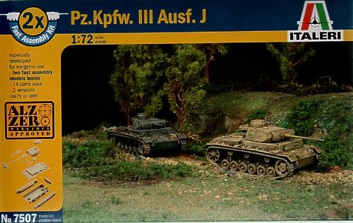 Italeri 1/72 Panzer III Ausf J - 2 snap together kits # 7507