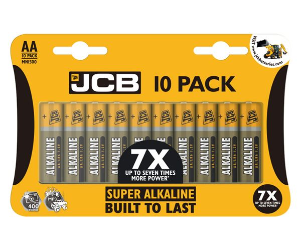 JCB - Pack of 10 Super Alkaline Built to Last AA Batteries # 21070F