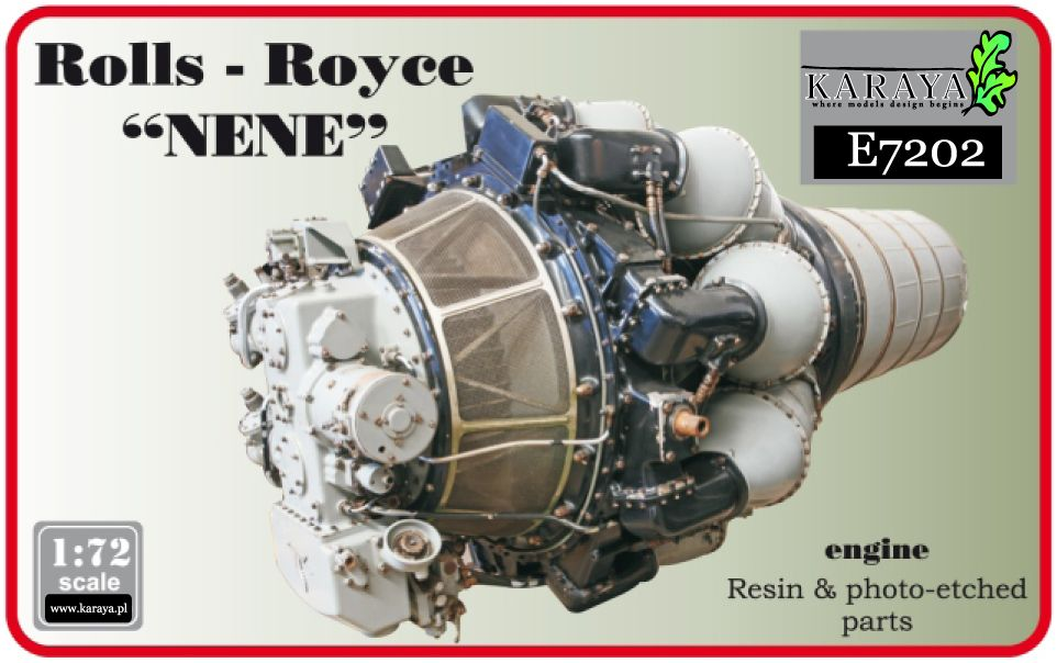 "Karaya 1/72 Rolls-Royce ""Nene"" British Jet Resin Engine # E7202"