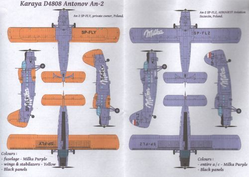 Karaya Decals 1/48 Antonov An-2 in 'Milka' Livery # D4808