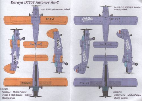Karaya Decals 1/72 Antonov An-2 in 'Milka' Livery # D7208