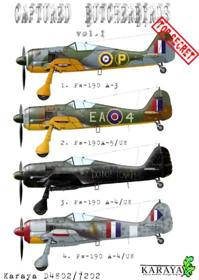 Karaya Decals 1/72 Captured Butcher Birds Vol. I # D7202