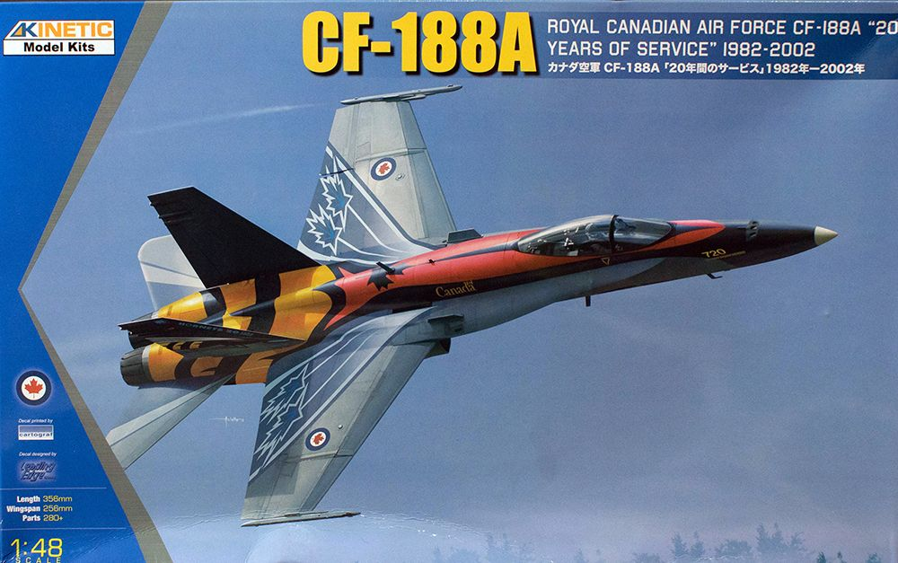 "Kinetic 1/48 CF-188A Royal Canadian Air Force ""20 years of service"" 1982-2002 # 48079"