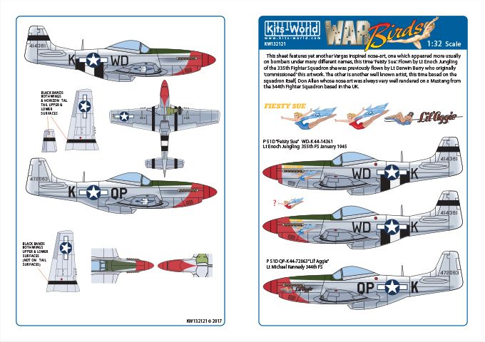 Kits-World 1/32 P-51D Mustang - 'Fiesty Sue' - 'Lil Aggie' # 32121