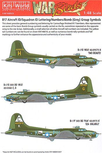 Kits-World 1/48 B-17 Squadron ID Lettering/Numbers/Bomb (Grey) G