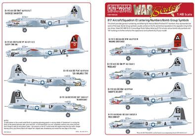 Kits-World 1/48 B17 Flying Fortress Squadron ID Lettering/Number