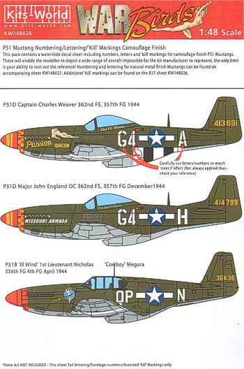 Kits-World 1/48 P-51 Aircraft ID Numbers & Letters inc 'kill' sy