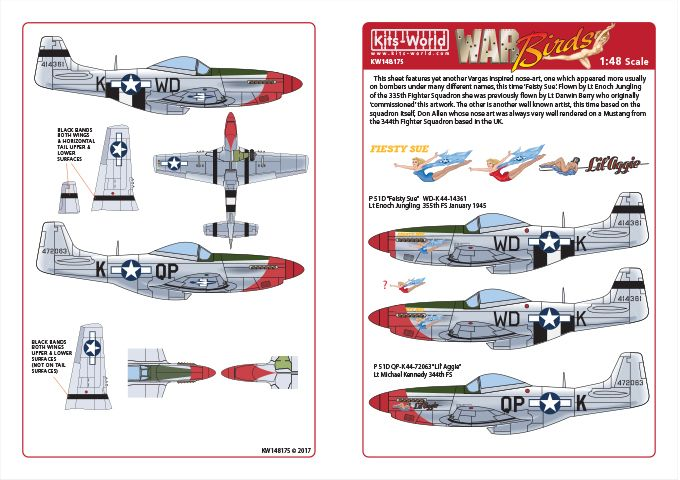Kits-World 1/48 P-51D Mustang - 'Fiesty Sue' - 'Lil Aggie' # 48175