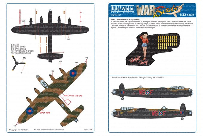 Kits-World Decals 1/32 Avro Lancasters of 9 Squadron # 32137B