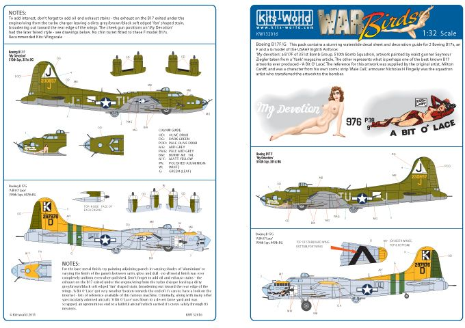 Kits-World Decals 1/32 B-17F/G Flying Fortress # 32016