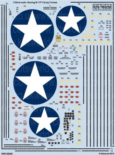 Kits-World Decals 1/32 Boeing B-17F Flying Fortress Comprehensive General # 32046